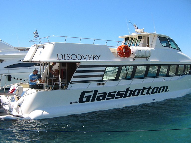 Glass window to the deep sea of Mykonos